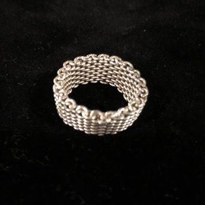 Silver Mesh Ring Sz 6